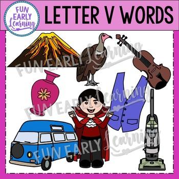 Alphabet Clip Art Set Letter V / Beginning Sounds - Phonics Clip Art Set