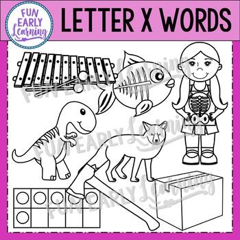 Alphabet Clip Art Set Letter X / Beginning Sounds - Phonics Clip Art Set