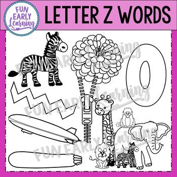 Alphabet Clip Art Set Letter Z / Beginning Sounds - Phonics Clip Art Set