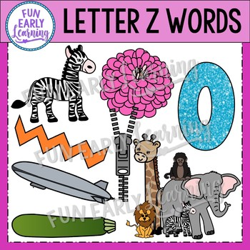 Alphabet Clip Art Set Letter Z / Beginning Sounds - Phonics Clip Art Set