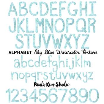 Alphabet Clip Art - Sky Blue Watercolor
