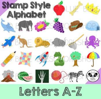 Alphabet Clip Art - Stamp Style, Letters A-Z (Color)
