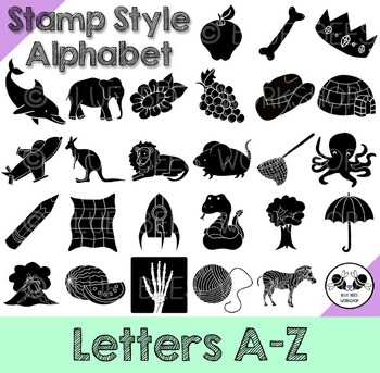 Alphabet Clip Art - Stamp Style, Letters A-Z (Silhouette)