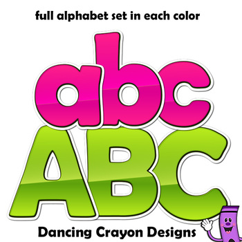 Alphabet Letters Clipart: Sticker Style Bulletin Board Letters and Numbers