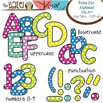 Alphabet Clip Art: Sweet Polka Dot Print - Uppercase, Lowe