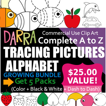 Alphabet Clip Art Tracing Pictures Bundle - Complete A to Z