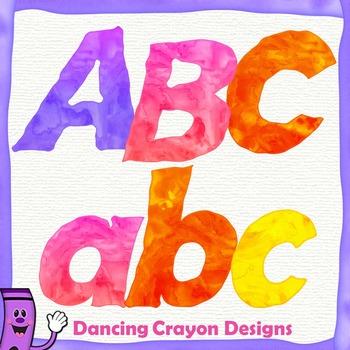 Alphabet Letters Clip Art: Watercolor