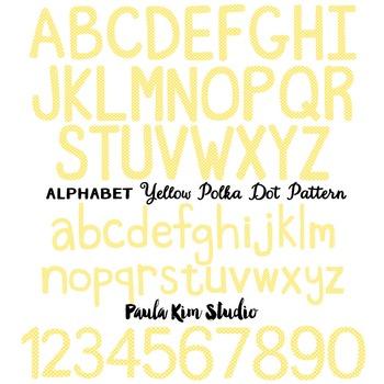 Alphabet Clip Art - Yellow Polka Dots