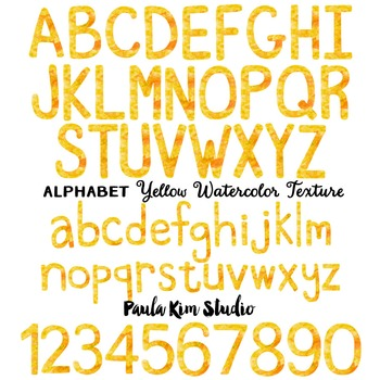 Alphabet Clip Art - Yellow Watercolor