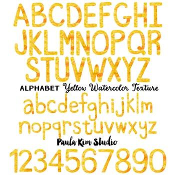 Alphabet Clip Art - Yellow Watercolor