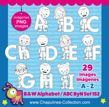 Alphabet Clip Art black and white, from A to Z, PNG images, Set 152