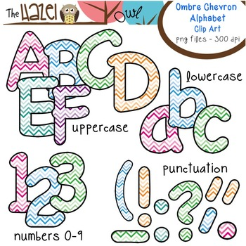 Alphabet Clip Art in Ombre Chevron Print - Uppercase, Lowercase, & Punctuation