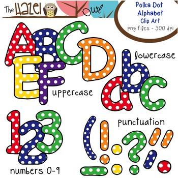 Alphabet Clip Art: Primary Polka Dot Print - Uppercase, Lowercase, & Punctuation