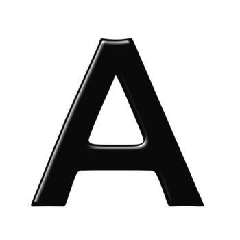Alphabet Clip Art in Shiny Black + Numerals, Math Symbols and Punctuation