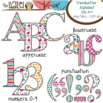 Alphabet Clip Art in Trendsetter Prints - Uppercase, Lowercase, & Punctuation