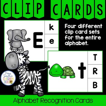Alphabet Clip Card Center Easy Prep for Uppercase & Lowercase A to Z Animals