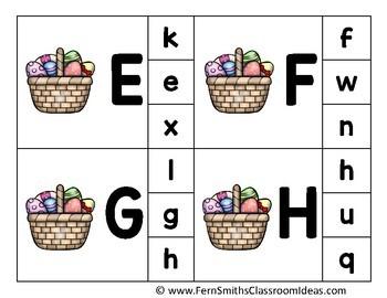 Alphabet Clip Card Center Easy Prep for Uppercase & Lowercase Easter