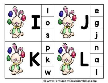 Alphabet Clip Card Center Easy Prep for Uppercase & Lowercase Easter Bunny