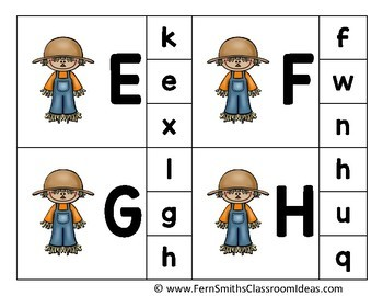 Alphabet Clip Card Center Easy Prep for Uppercase & Lowercase Fall Scarecrow