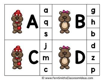 Alphabet Clip Card Center Easy Prep for Uppercase & Lowercase Groundhog