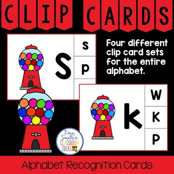 Alphabet Clip Card Center Easy Prep for Uppercase & Lowercase Gumball Themed