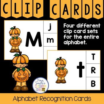 Alphabet Clip Card Center Easy Prep for Uppercase & Lowercase Halloween