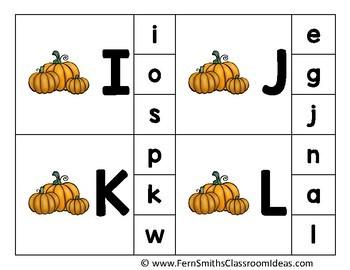 Alphabet Clip Card Center Easy Prep for Uppercase & Lowercase Pumpkin