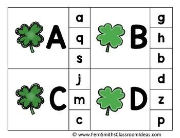 Alphabet Clip Card Center Easy Prep for Uppercase & Lowercase Shamrocks