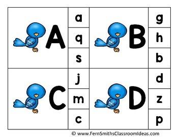 Alphabet Clip Card Center Easy Prep for Uppercase & Lowercase Spring Bird