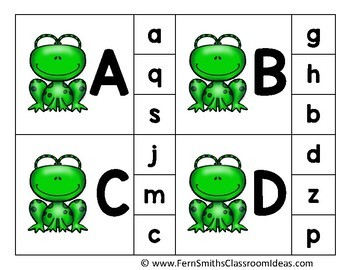 Alphabet Clip Card Center Easy Prep for Uppercase & Lowercase Spring Frogs