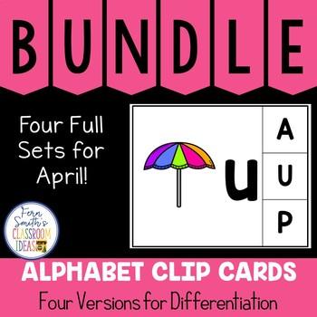 Alphabet Clip Card Center Uppercase & Lowercase April Bundle