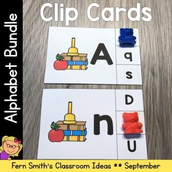 Alphabet Clip Card Center Uppercase & Lowercase Back to School September Bundle