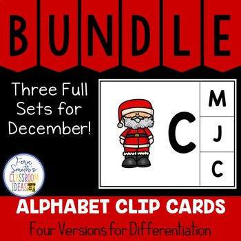 Alphabet Clip Card Center Uppercase & Lowercase December Bundle