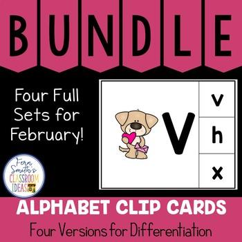 Alphabet Clip Card Center Uppercase & Lowercase February Bundle