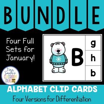 Alphabet Clip Card Center Uppercase & Lowercase January Bundle