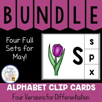 Alphabet Clip Card Center Uppercase & Lowercase May Bundle