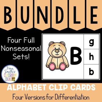 Alphabet Clip Card Center Uppercase & Lowercase Nonseasonal Bundle