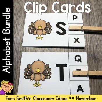 Alphabet Clip Card Center Uppercase & Lowercase November Bundle