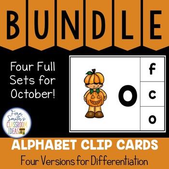Alphabet Clip Card Center Uppercase & Lowercase October Bundle