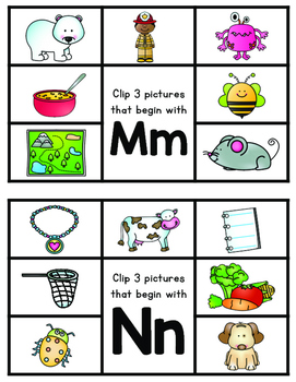 Alphabet Clip Cards for Letter Recognition/Phonics