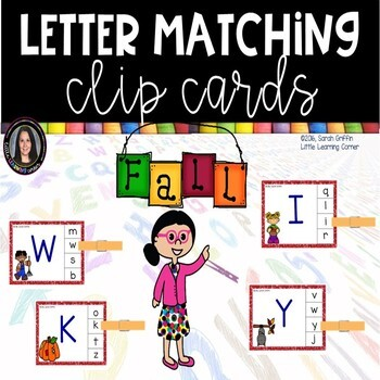 Alphabet ABC matching - Fall - Clip Cards