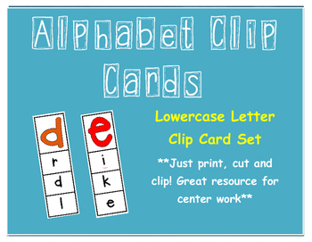Alphabet Clip Cards - Lowercase Letters