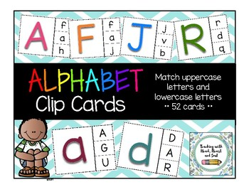 Alphabet Clip Cards - Lowercase and Uppercase Letters