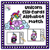Alphabet Matching Clip Cards Unicorn Theme