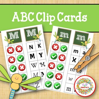 Alphabet Clip Cards Upper and Lower Case Recognition - Dragonfly