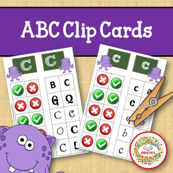 Alphabet Clip Cards Upper and Lower Case Recognition - Monster Theme