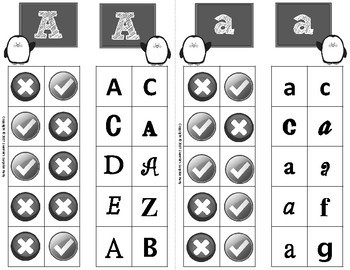 Alphabet Clip Cards Upper and Lower Case Recognition - Penguin Theme