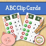 Alphabet Clip Cards Upper and Lower Case Letter Recognition - Farm Theme