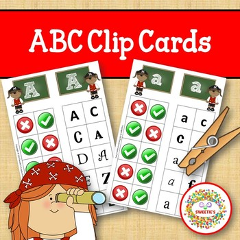 Alphabet Clip Cards Upper and Lower Case Recognition - Pirates