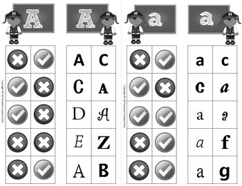Alphabet Clip Cards Upper and Lower Case Letter Recognition - Pirates